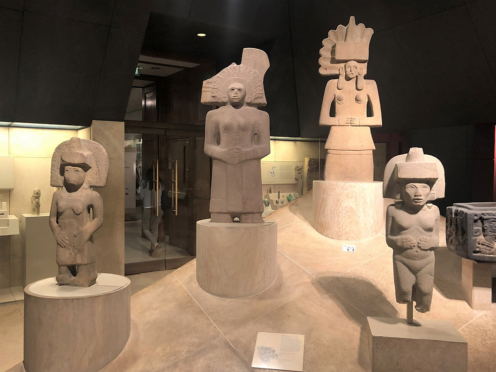 On display in The British Museum statues made by the Huastecs, a people conquered by the Aztecs in about 1450