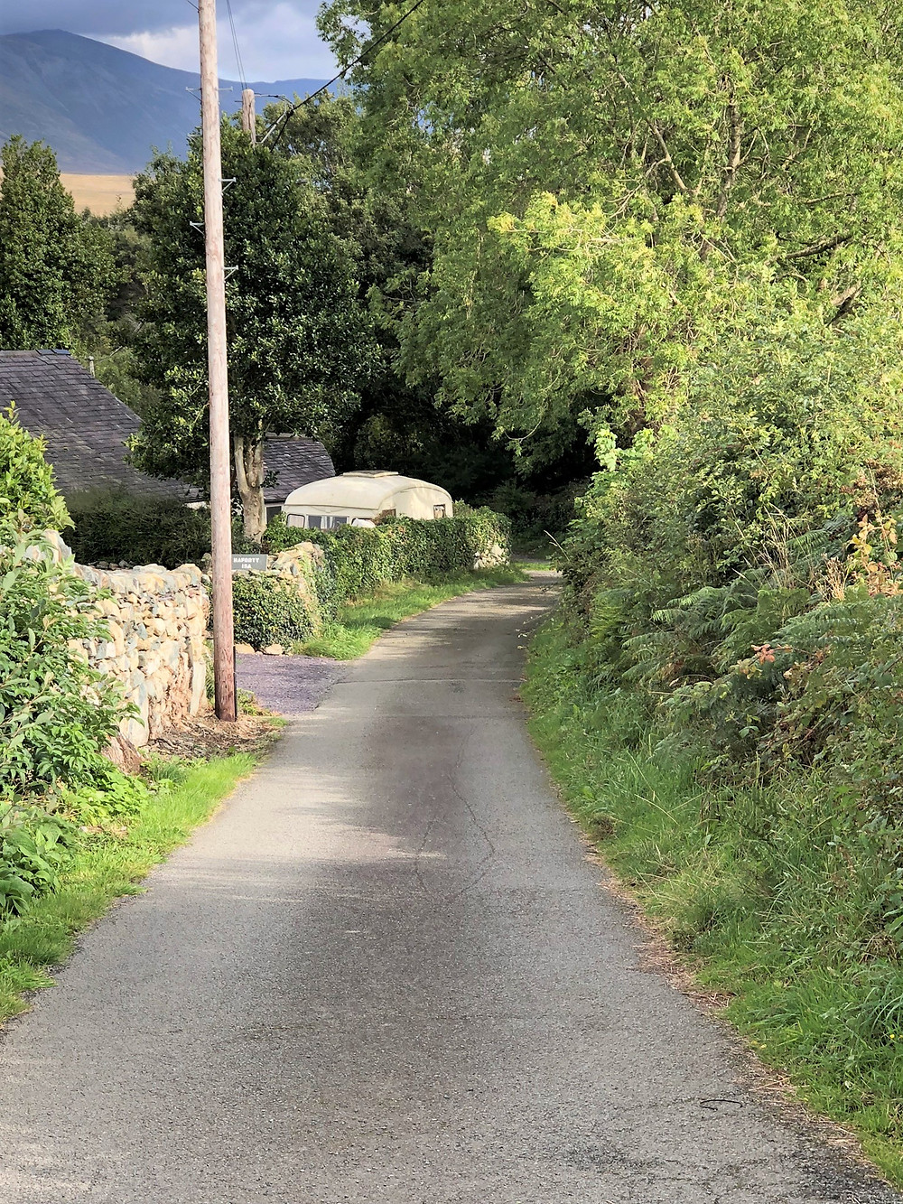 Narrow single lane road in Tregarth Wales.  Lon Hafoty