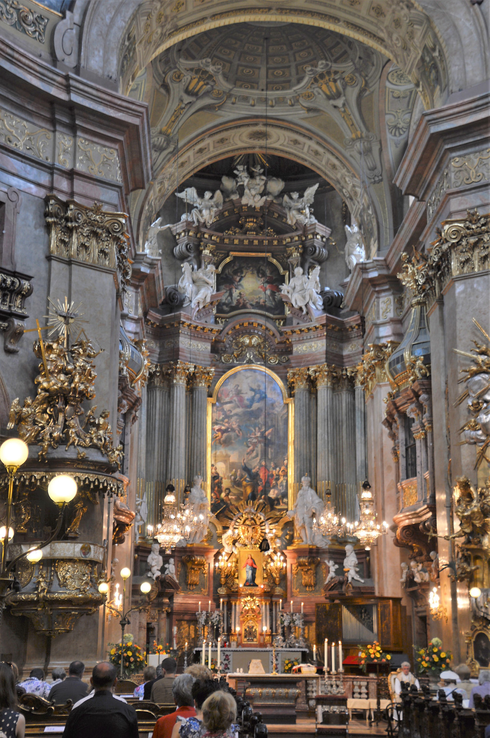 Nave and High Altar of St Peter's Church in Vienna