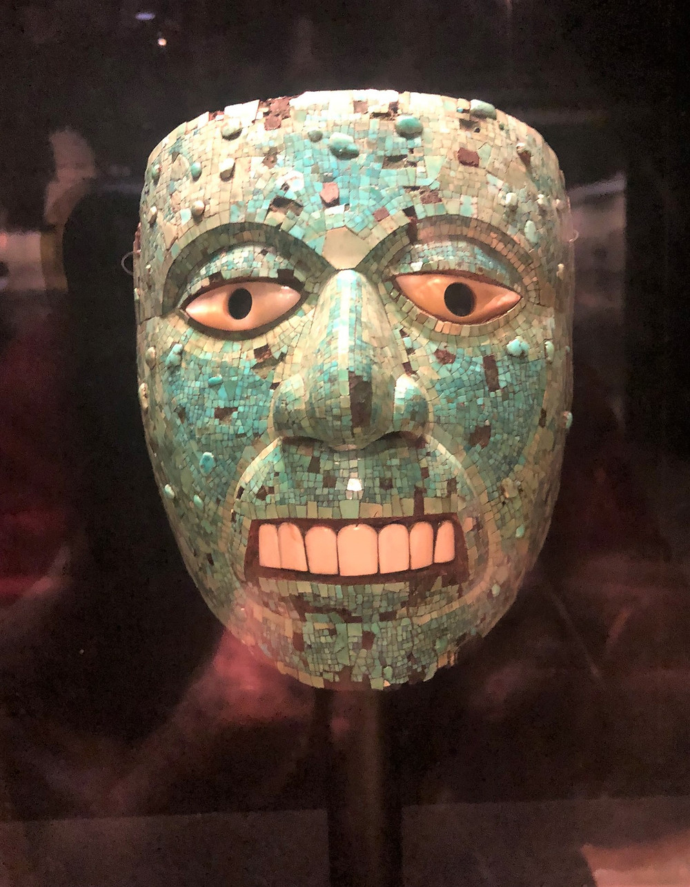 On display in The British Museum a turquoise Mosaic Mask, Mixtec-Aztec, Mexico, 1400-1500 AD