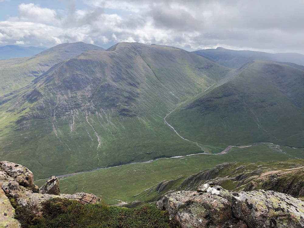At the summit of Stob Dearg on Buachaille Etive Mòr in the Scottish Highlands