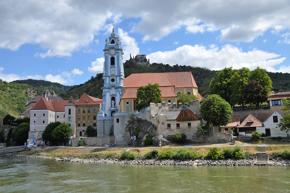 Beautiful blue tower of the Durnstein Abbey established in 1410 along the Danube River in Austria