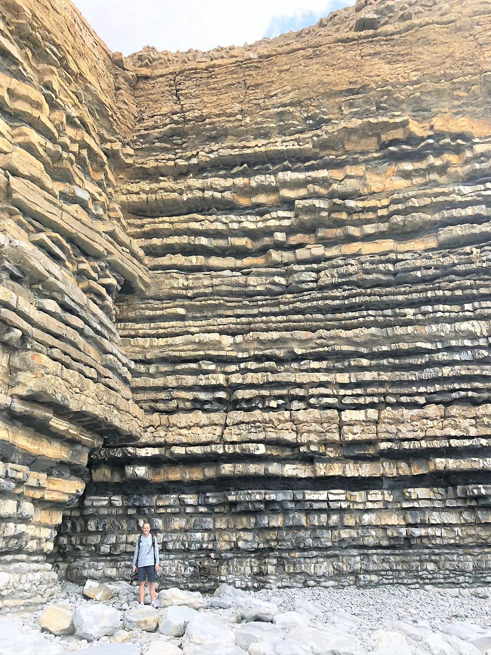 Tall, vertical cliffs of almost perfectly straight thin-layered  limestone and shale at Dunraven Beach along the Glamorgan Heritage Coastal Trail in Wales