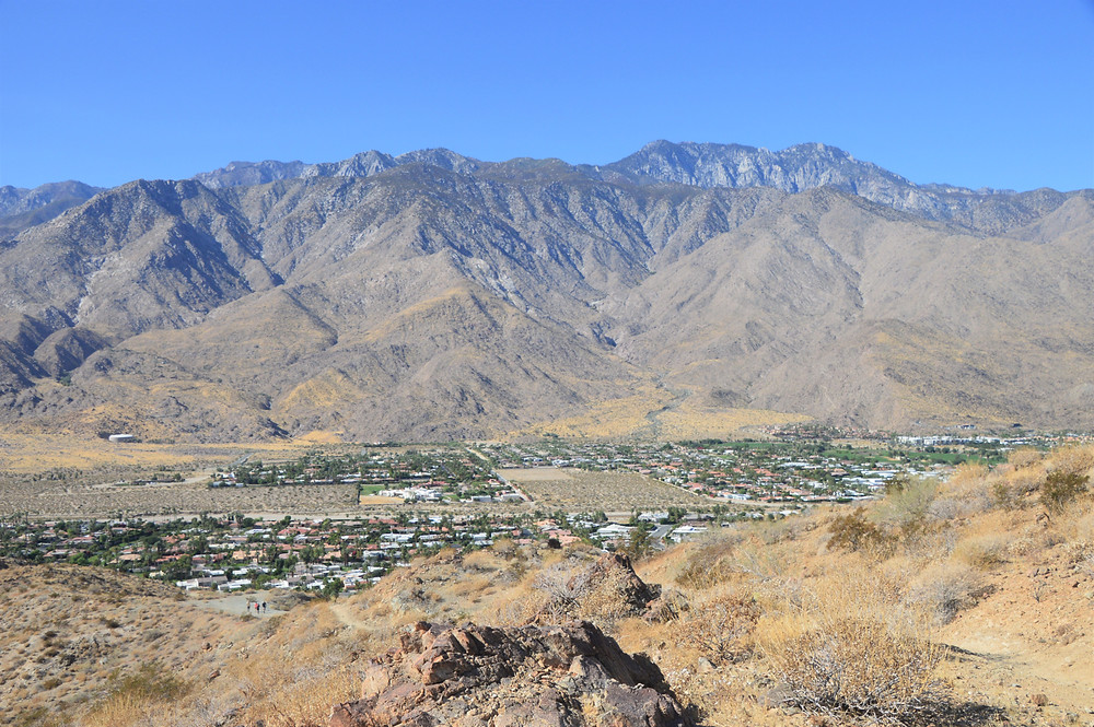 Palm Springs at the base of San Jacinto Mountains from Frank Bogert trailhead sign