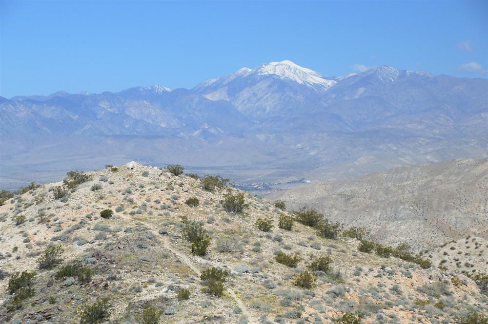 San Gorgonio summit from Chocolate Drop Trail in Desert Hot Spring