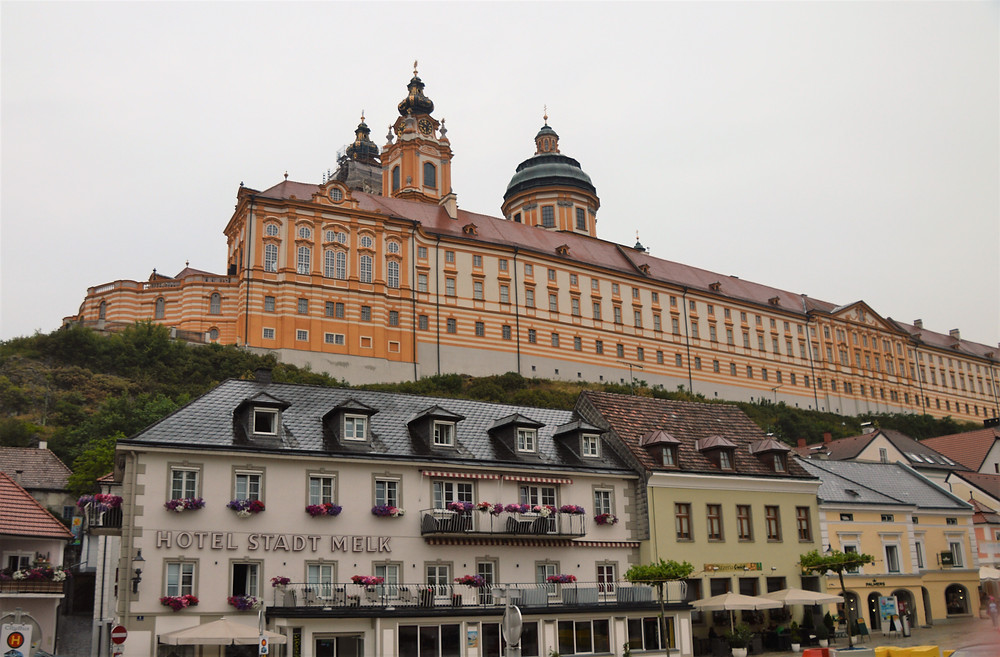 View of Melk Abbey in the hill above the village of Melk Austria