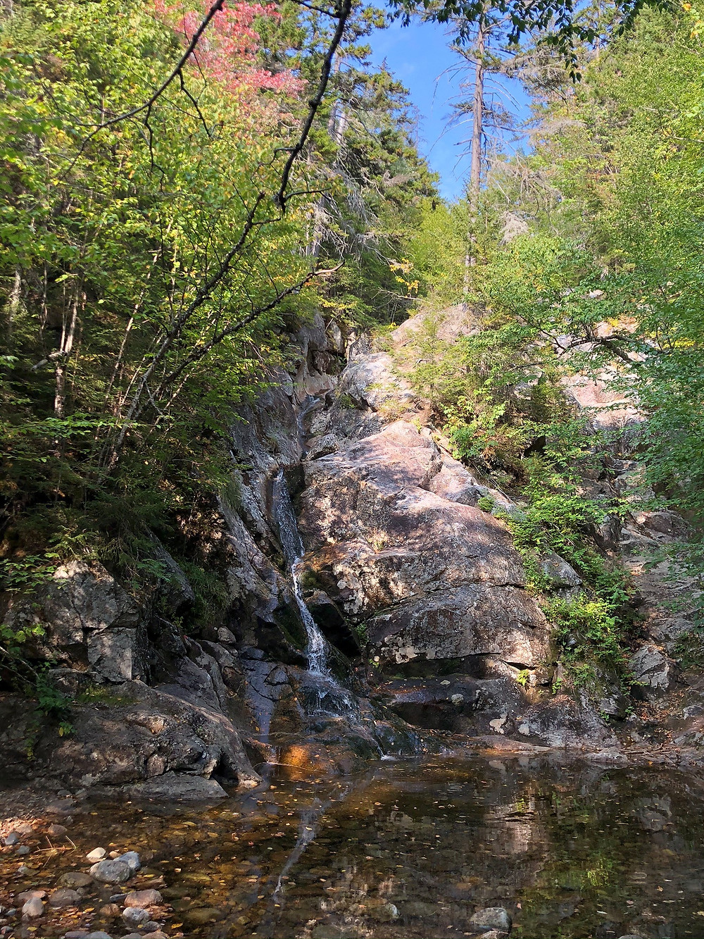Gibbs Fall on Crawford Path from Mt Eisenhower. White Mountains waterfall.