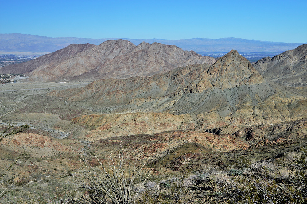 Beautiful Santa Rosa Mountains and foothills at the start of the Bear Creek Oasis Trail