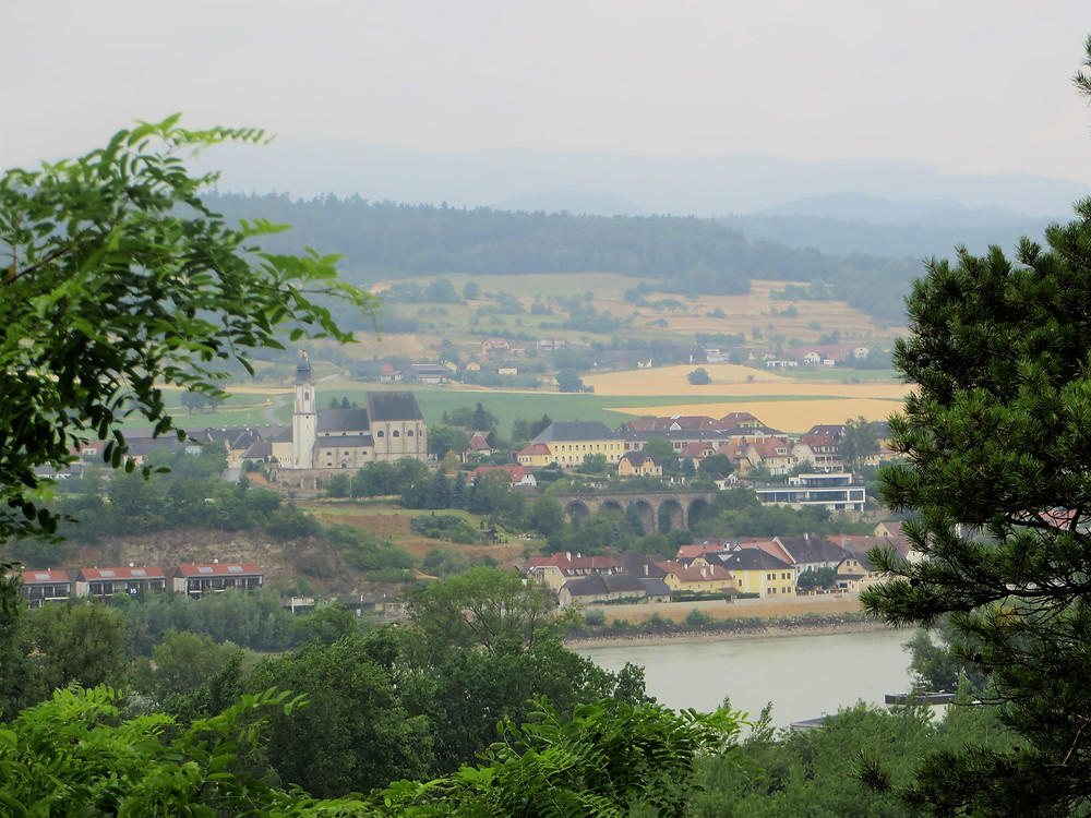 View of the river valley from the grounds of Melk Abbey in Austria