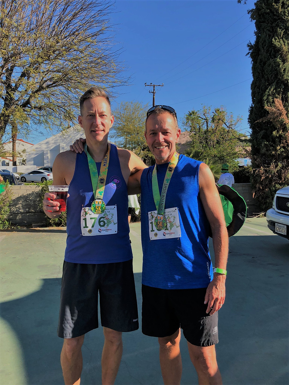 Beer after completing the 2019 St Patty's Day 5K road race in Palm Springs
