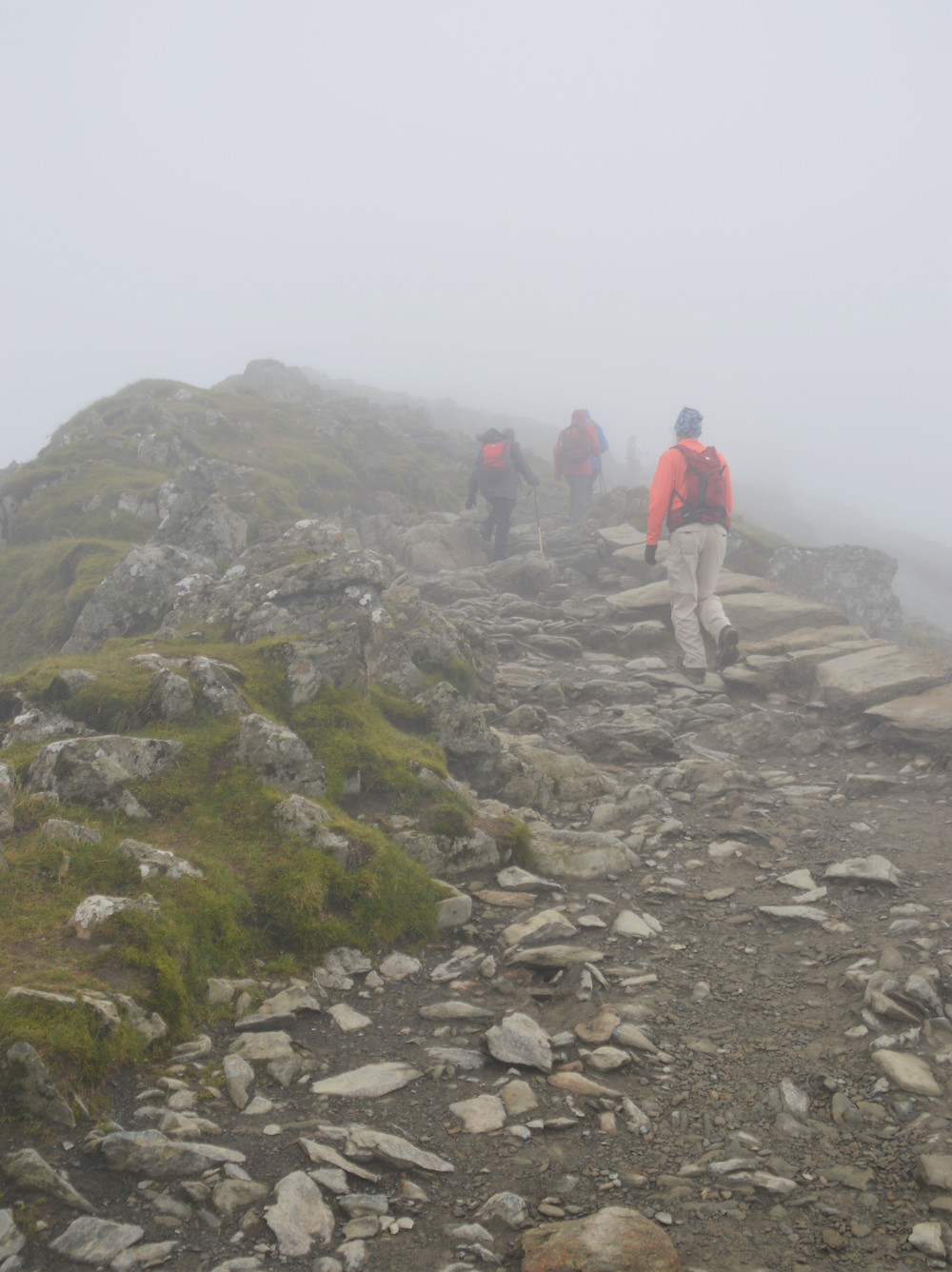 Final section of the Snowdon Ranger Path covered in clouds