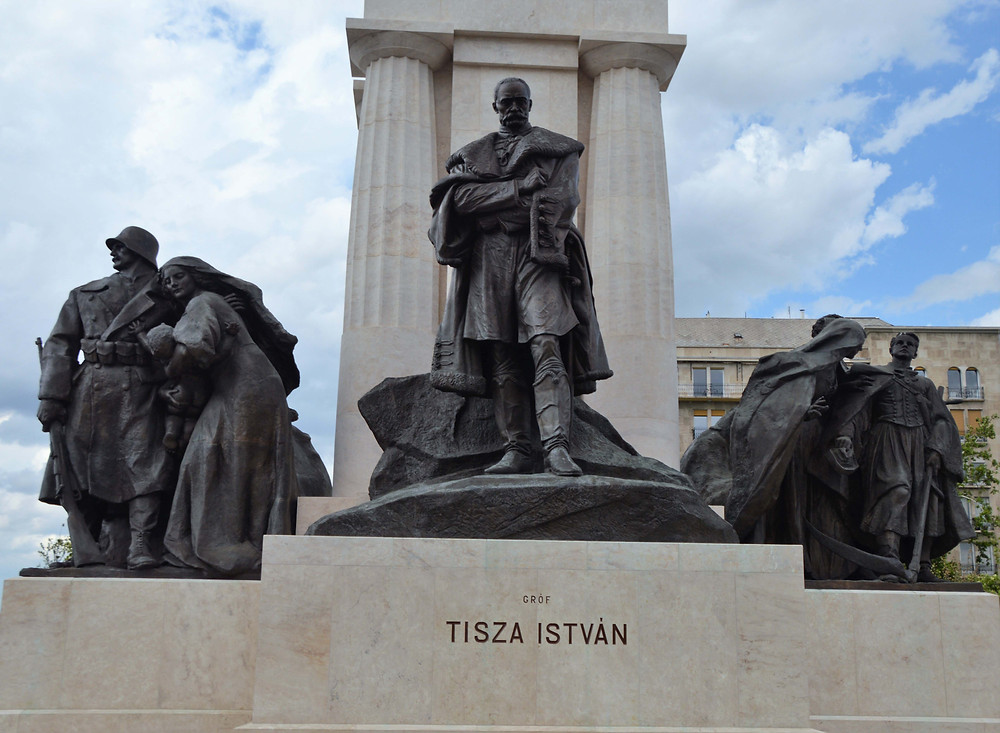 The statue of Count István Tisza was a Hungarian politician and prime minister located outside the Hungarian Parliament Building in Budapest