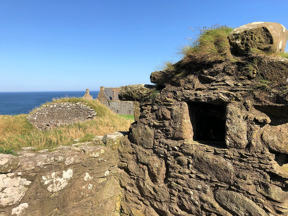 Decaying remains of Dunnottar Castle in Aberdeenshire Scotland