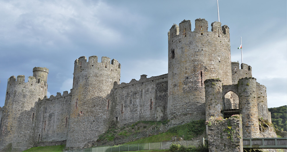 Conwy Castle curtain fortress walls Nothern Wales. Built in 1280s buy Edward I