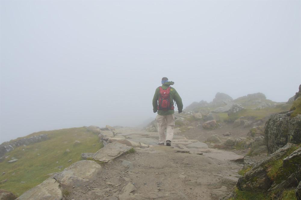 Wind and rain on the summit of Snowdon
