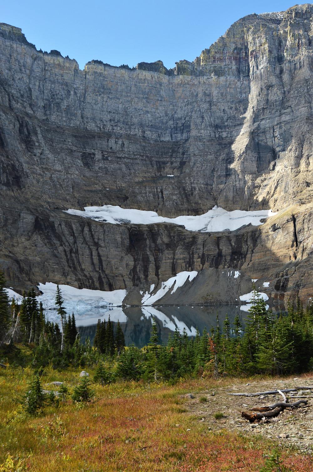 iceberg on iceberg lake, glacier national park hiking
