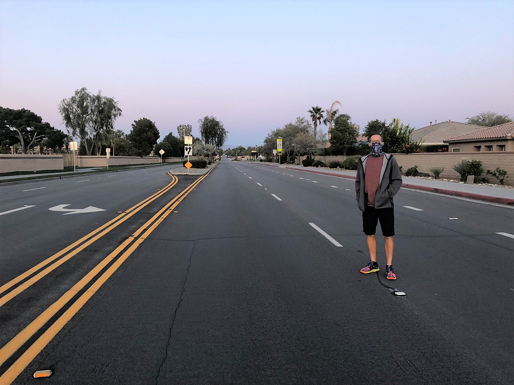 Empty street in Palm Desert during COVID pandemic