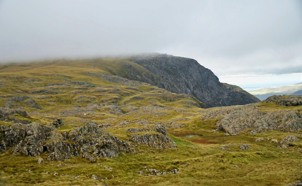 Hiking on the trail from Devil's Kitchen to Y Garn in Snowdonia