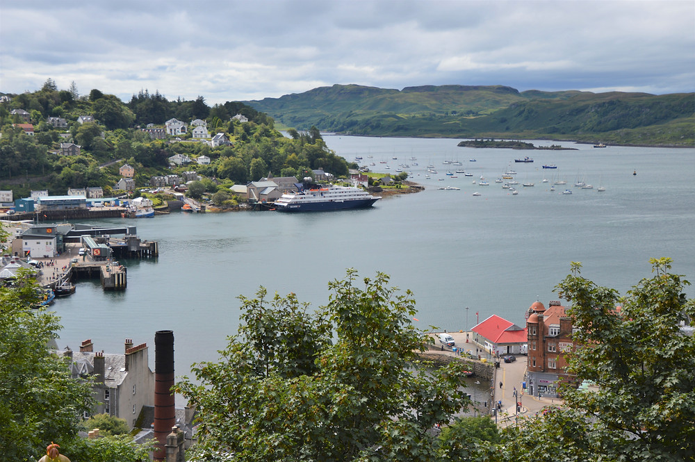 View from McCaig's Tower of Oban harbor in Scotland