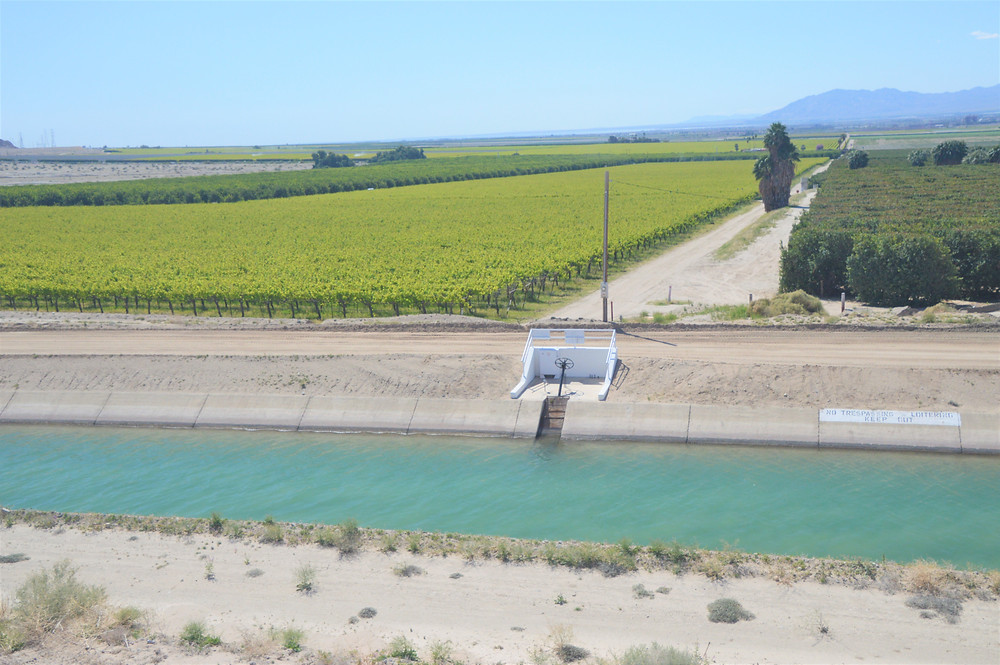 Farm land of the Imperial Valley, Coachella irrigation canal in Mecca