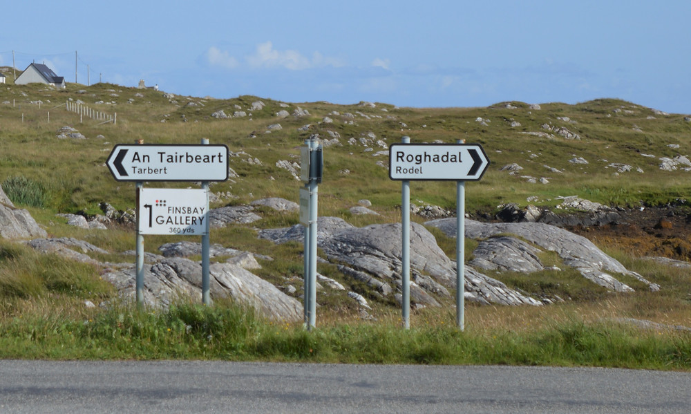 Gaelic and English road sign in Lewis and Harris in the Outer Hebrides