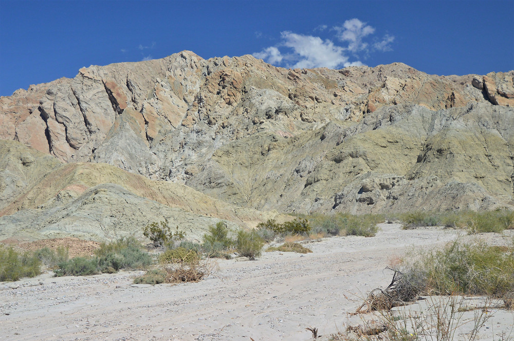 Folded sedimentary rock layers from movement along San Andreas fault network in Mecca Hills