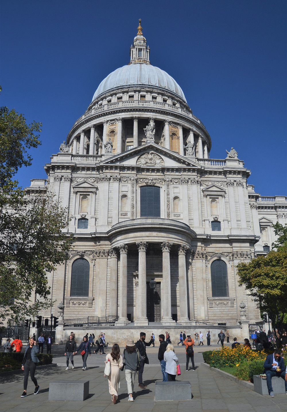 South side of the St Paul's Cathedral highlighting the dome designed by Wren. The dome, which rises 365 feet to the cross at its summit