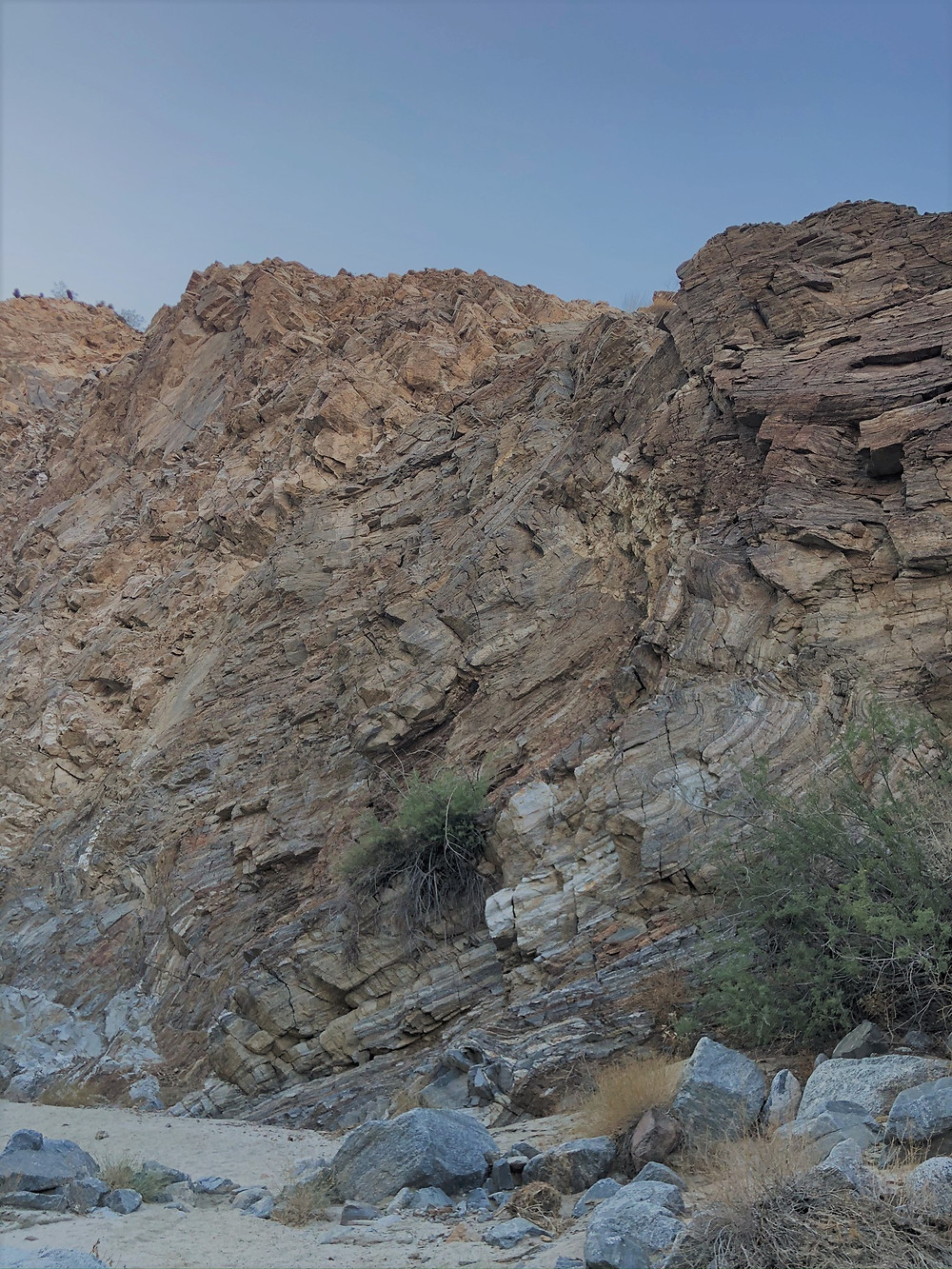 Syncline fold in Carrizzo Canyon walls in the Santa Rosa Mountains in Palm Desert CA