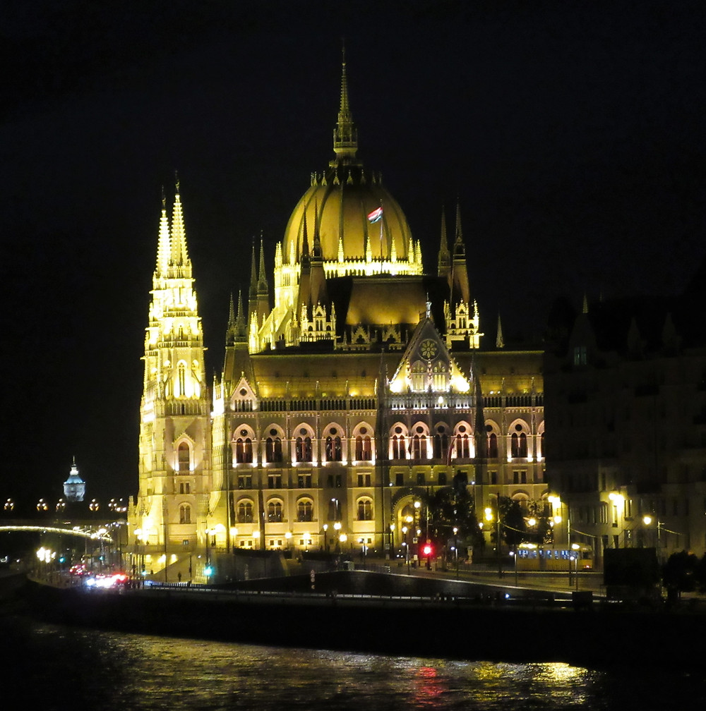 The domes and spires of the Hungarian Parliament Building at night