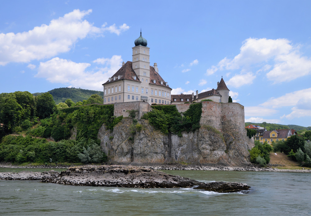 Schoenbuehel Castle stands 130 feet above the bank of the Danube River. Danube River cruise from Krems to Melk