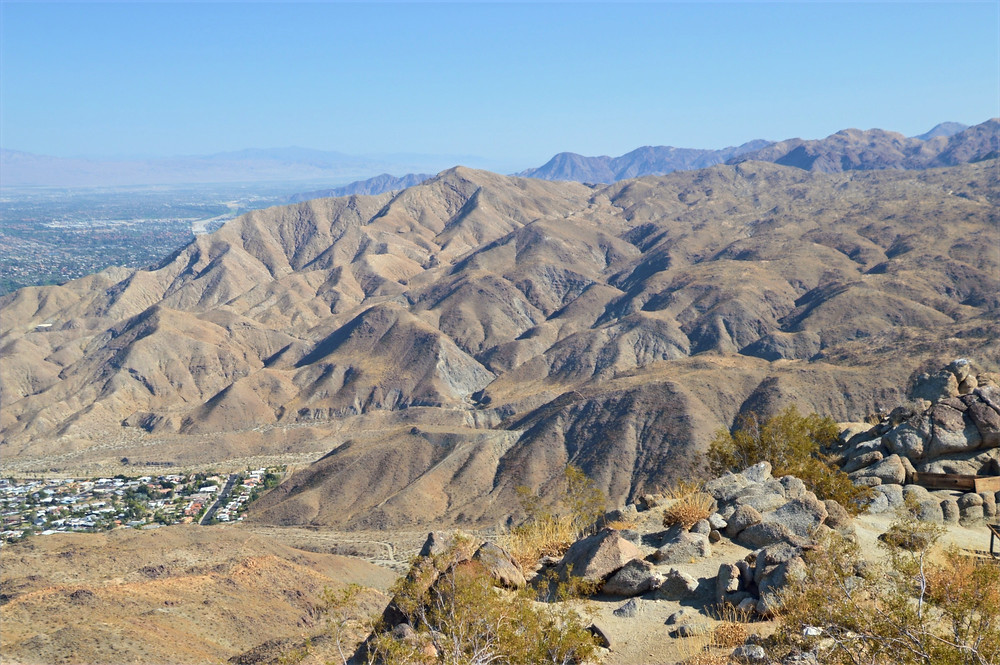 Folds in the hills at the edge of Cathedral City and at the foot of the Santa Rosa Mountains