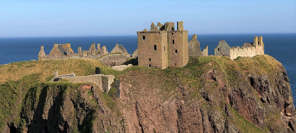 Dunnottar Castle perched on a massive rock on the coast of Aberdeenshire, Scotland