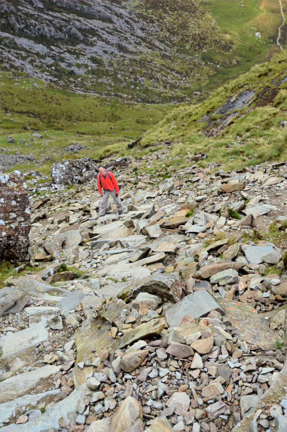Scree covered trail leading to Devil's Kitchen in Snowdonia.