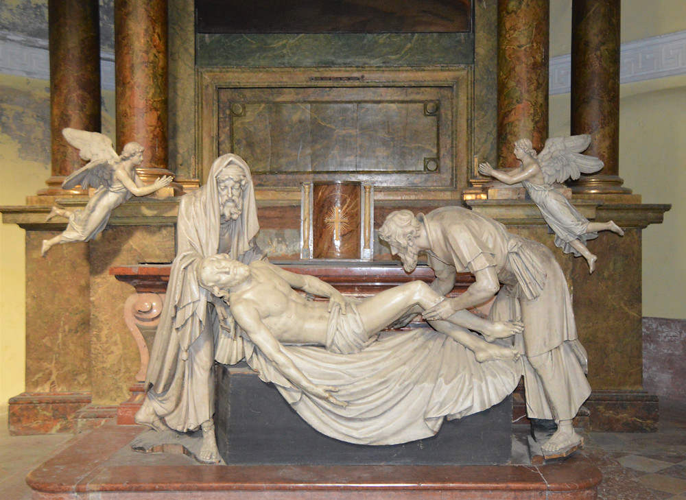 Marble statue of the disposition of Christ in St Michael's Church in Vienna.