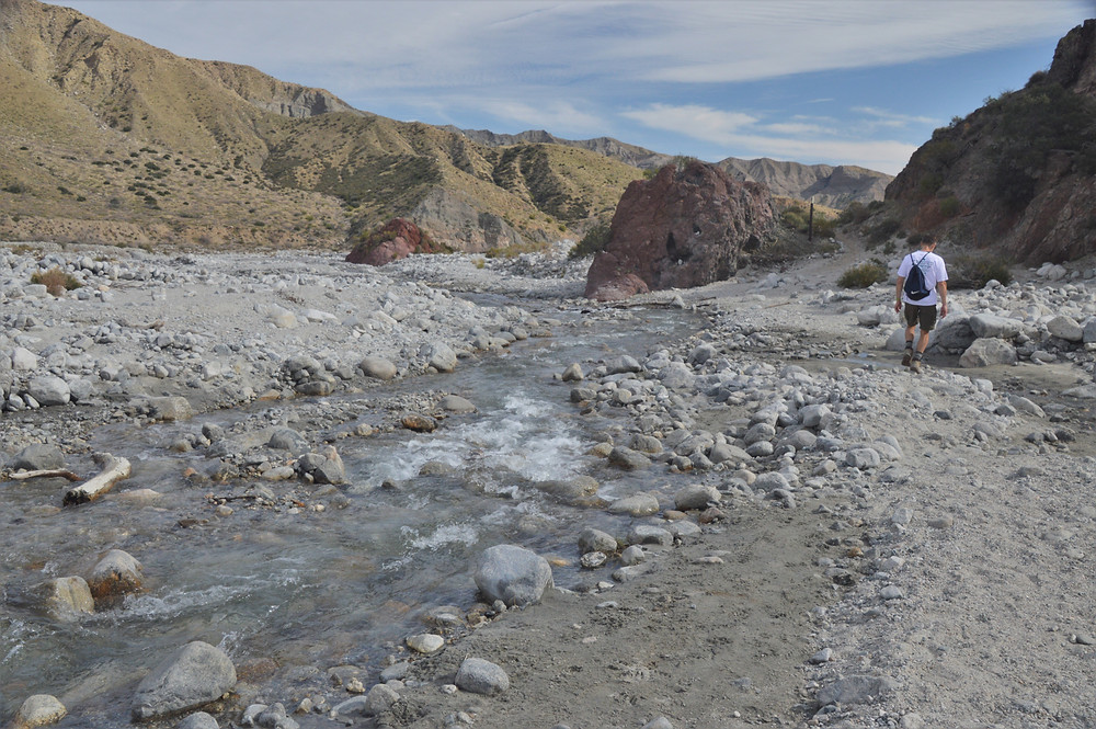 Crossing Whitewater River in the Whitewater Preserve of San Bernardino Mountains, Red Dome in Whitewater Preserve