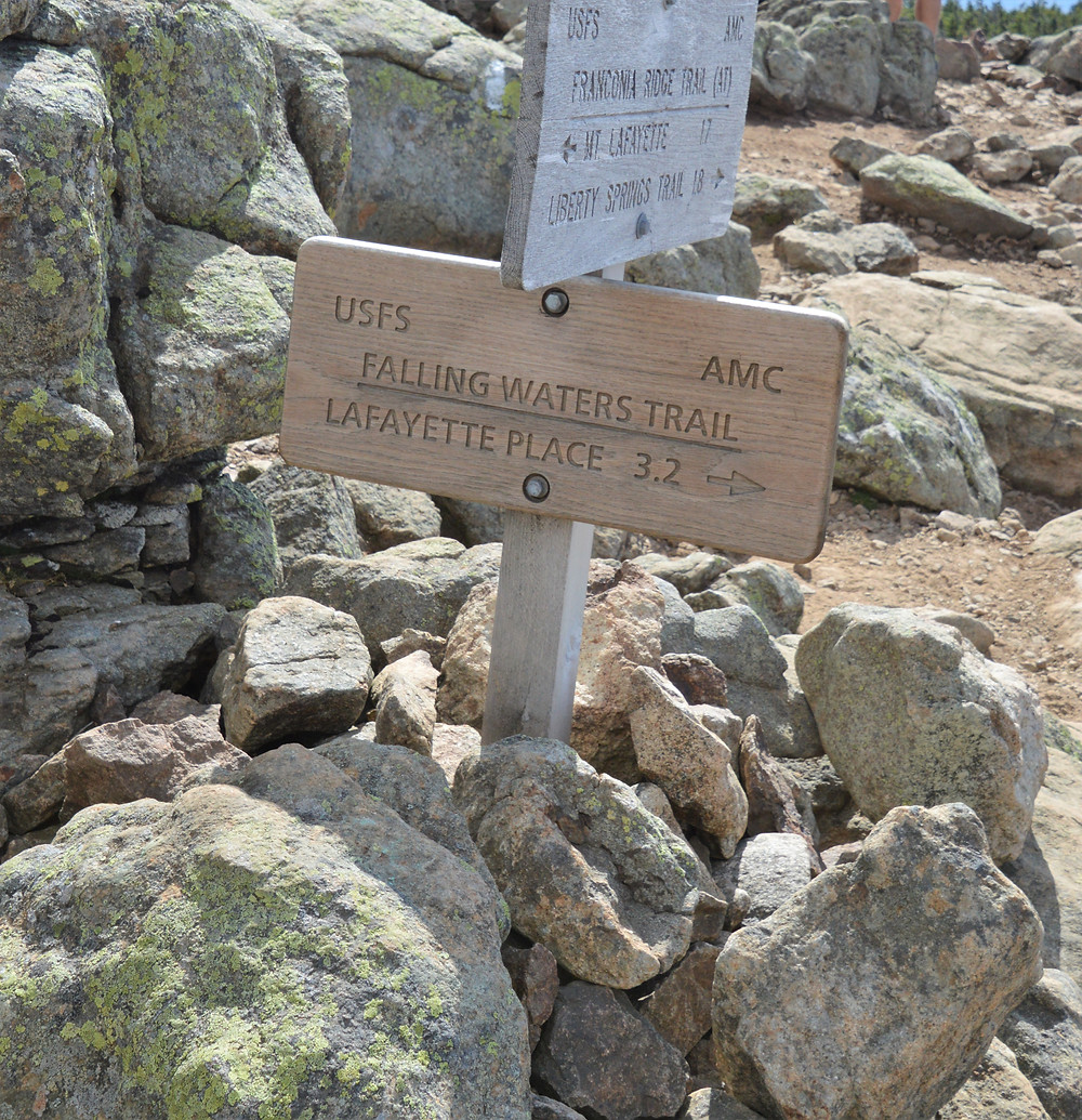 Falling Water Trails sign on Little Haystack Mountain summit.