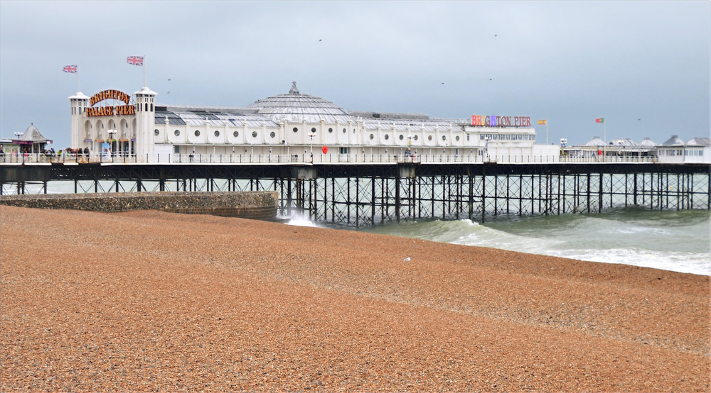 Brighton Palace Pier from the beach in Brighton, England