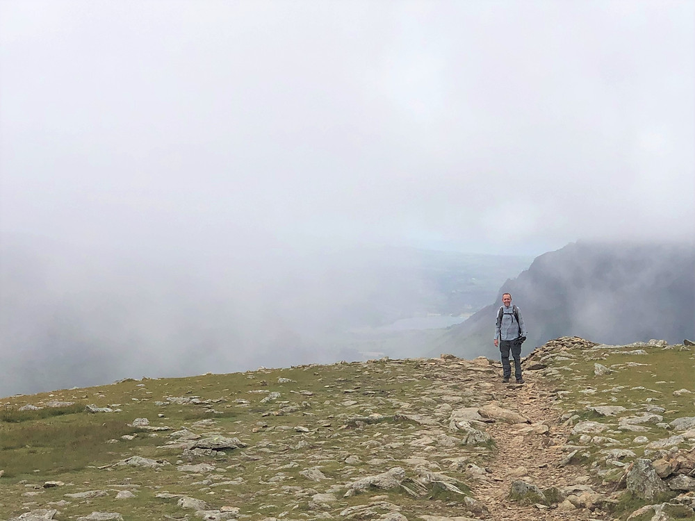 The top of the Clogwyn Du'r Arddu was covered in clouds. Snowdon Range Path