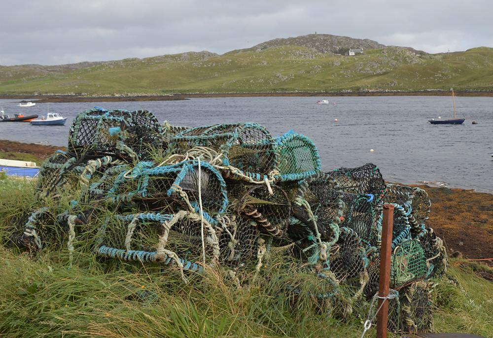 Lobster traps on the banks of the Heidagul River in Carloway on Lewis and Harris in the Outer Hebrides