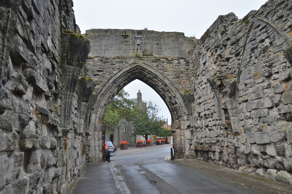 Remains of the curtain walls around the village of St Andrews Scotland