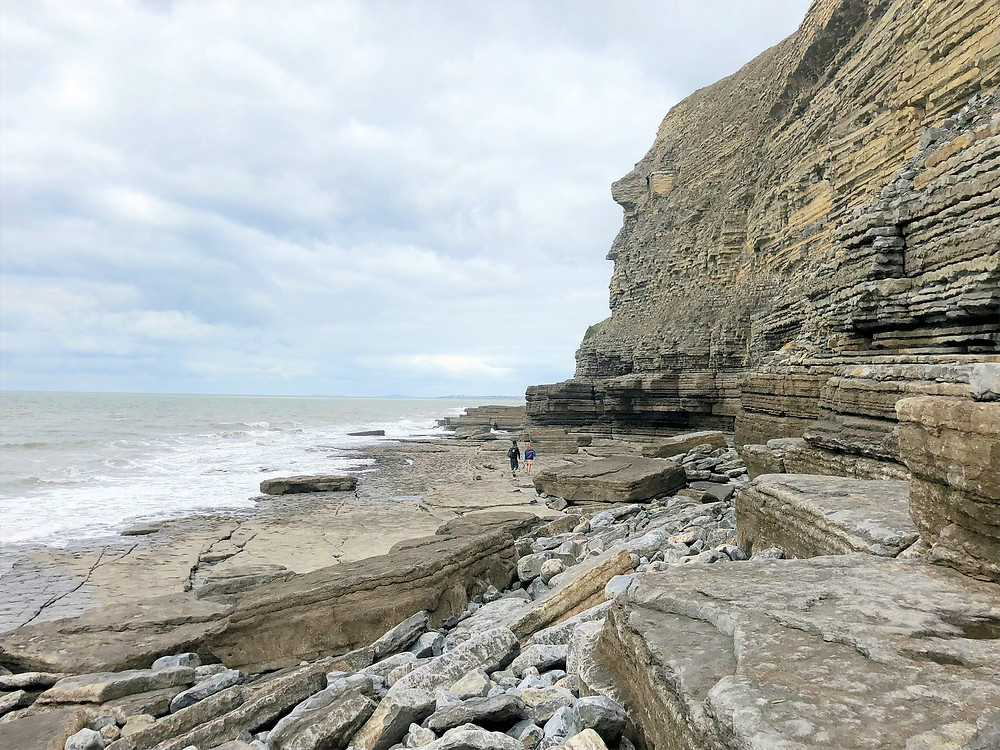 Plunging cliffs at Dunraven Beach along the Glamorgan Heritage Coastal Trail in Wales