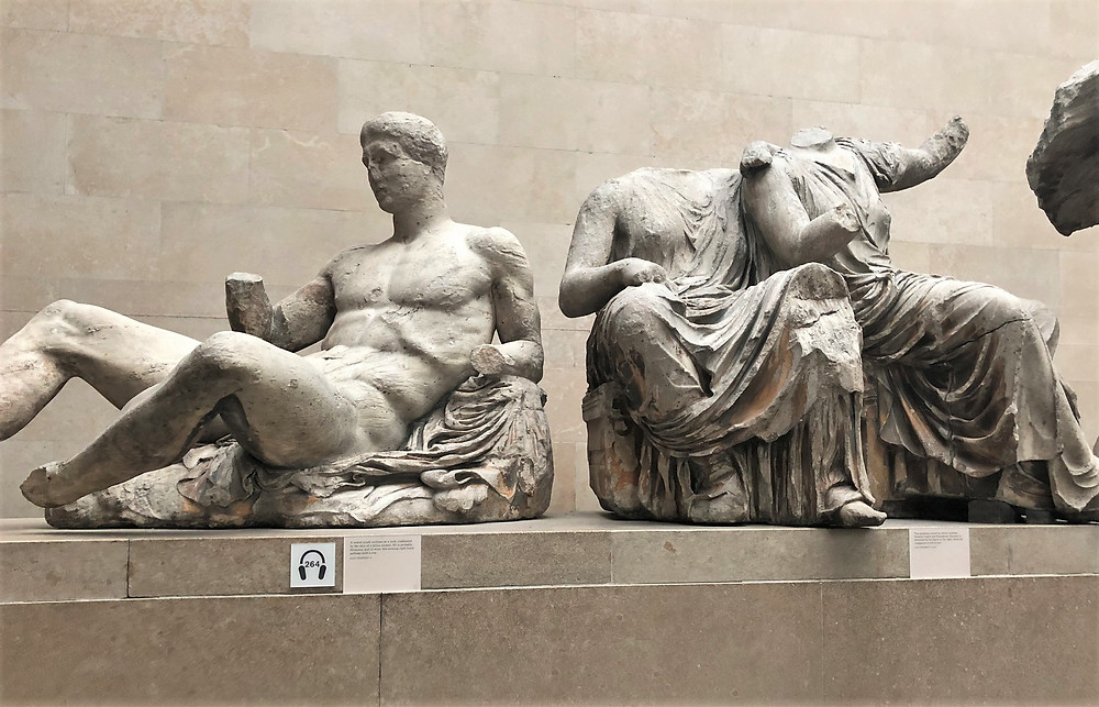 On display in The British Museum are the Parthenon Marbles also known as the Elgin Marbles are a collection of Classic Greek marble sculptures from the east pediment of the Parthenon