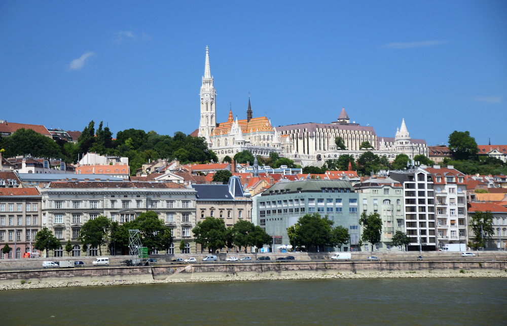 Matthias Church and Fisherman's Bastion from across the Danube River