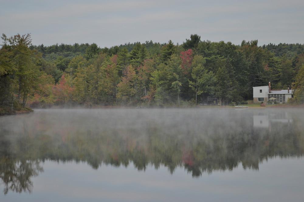 Morning fog over Snake Pond in Gardner, MA