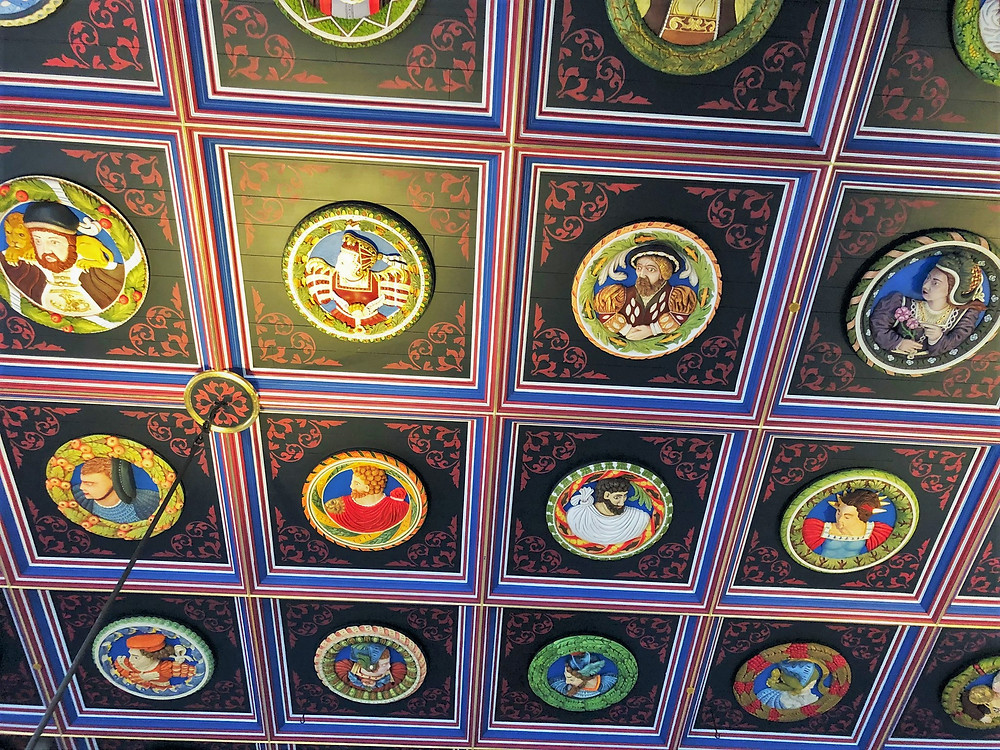 The Stirling Heads decorate the ceiling of the King's Inner Hall of Stirling Castle. King Henry VIII; Madeleine de Valois, First Wife of James V; James V; and Mary of Guise, 2nd wife of James V.