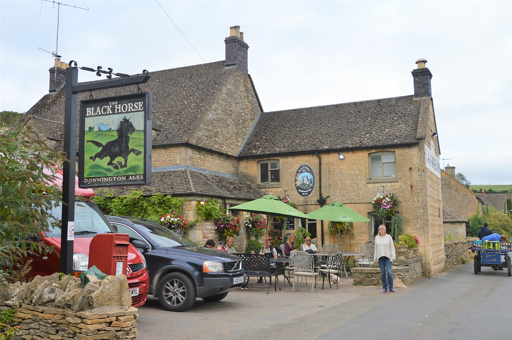 Black Horse pub in the Village of Naunton of the Cotswolds