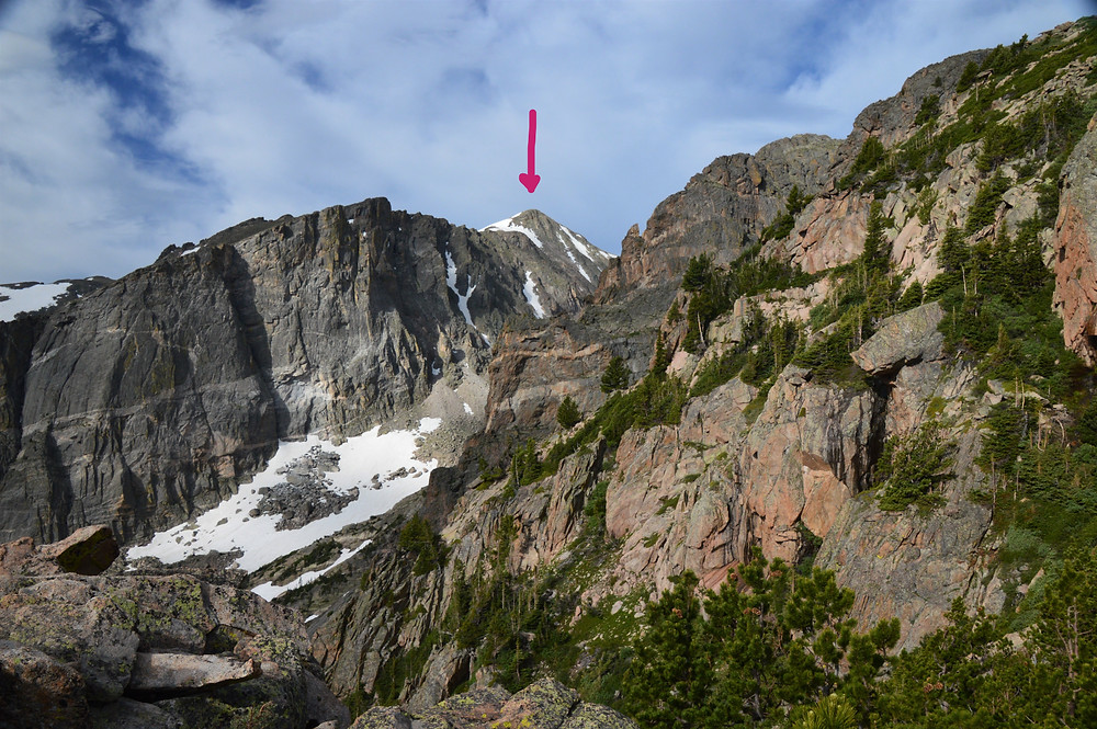 Hallett Peak from the trail leading to Flattop Mountain in Rocky Mountain National Park