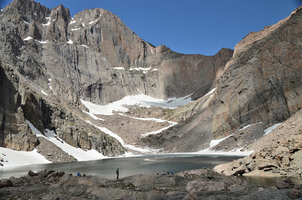 Chasm Lake sits in front of you in a grand cirque below the towering Longs Peak of Rocky Mountain National Park
