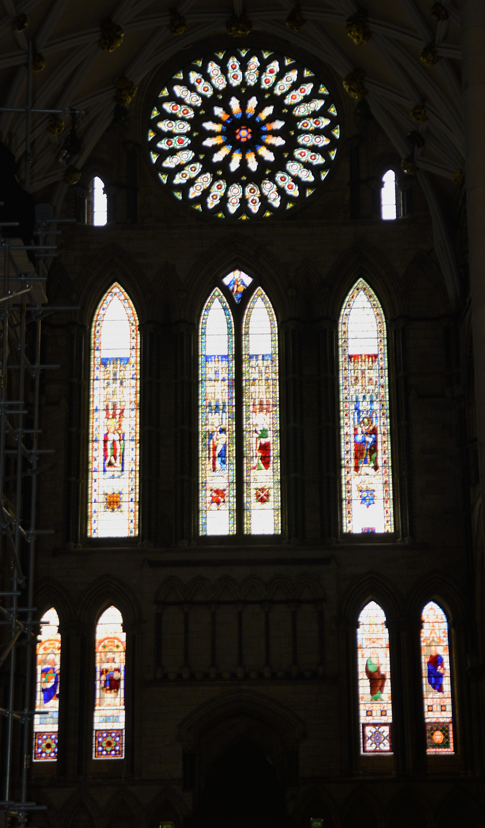 High in the gable of the South Transept is the Rose Window, one of the best known stained glass windows in England