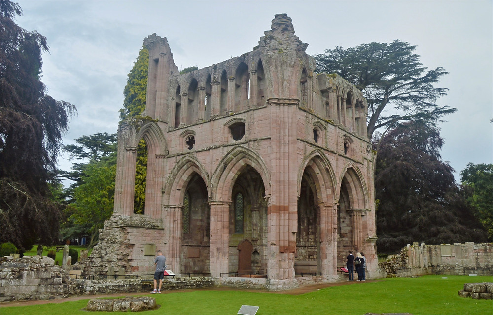 The almost intact north transept of Dryburgh Abbey in the Border Region of Southern Scotland. Border Abbey